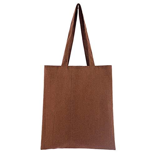 QLSGFBDIM Wiederverwendbare Aufbewahrung mit großer Kapazität Mehrzweckwaschbare natürliche Schule Universal Cotton Blend Solid Shopping Einkaufstasche Soft-Leichter Kaffee