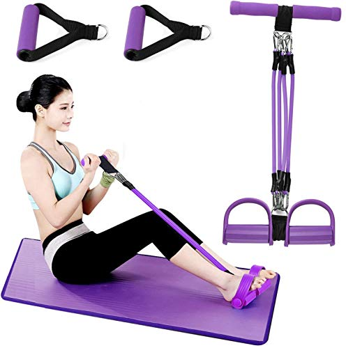 Wuudi Upgrade 4 Tubes Multifunktions-Leg-Exerciser- Elastische Zugseil Trainingsgeräte- Sit-up Bodybuilding Expander - Pedal Resistance Band- Lila