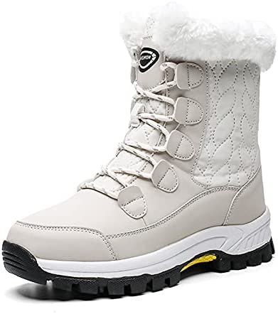 Womens Snow Boots Fur Lined Anti-Slip Warm Winter Boots Outdoor Mid Calf Boot