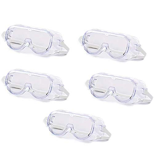 Virus Protection Goggle with Flexible Soft PVC Frame, Polycarbonate Clear Anti-Fog Lens, Indirect Vent, White Adjustable Strap. Fit Over Prescription Glasses. (5)