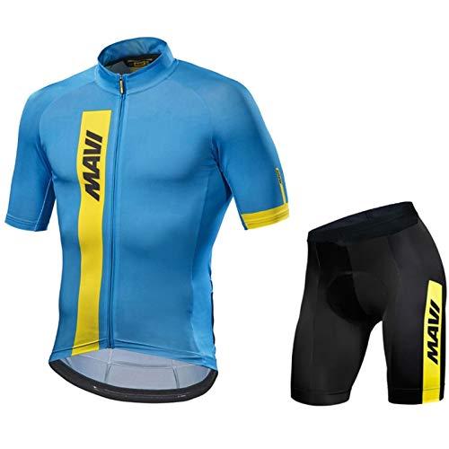 QWA Ropa Ciclismo Verano Hombre MTB Ropa + Pantalones Cortos, Conjunto de Ropa Ciclismo con Acolchado 20D, para Deportes Aire Libre Ciclo Bicicleta (Color : Blue 3, Size : A(XS))