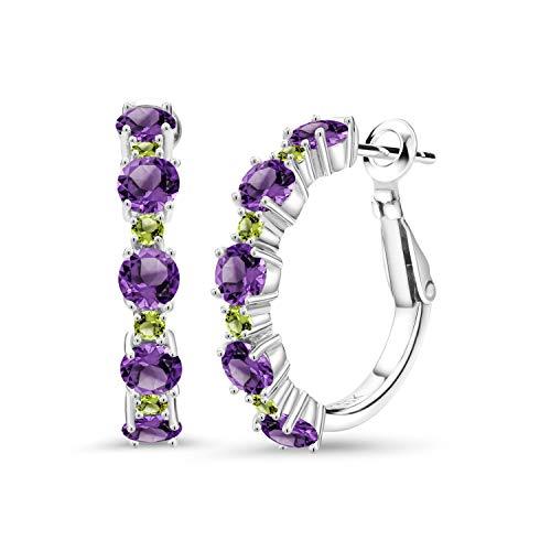 Gem Stone King 2.90 Ct Round Purple Amethyst Green Peridot 925 Sterling Silver Hoop Earrings