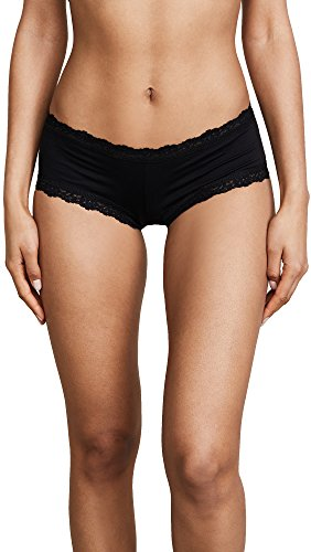 hanky panky Women's Organic Cotton Boyshort w/Lace Black Boy Shorts MD