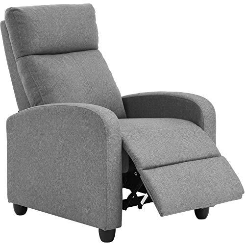 Cadeira reclinável para sala de estar, Home Theater, sentar, sofá reclinável, com encosto de assento acolchoado (cinza)