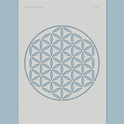 Schablone - Blume des Lebens, 7511, Ø 17 cm, Wandschablone, Textilschablone, für DIY