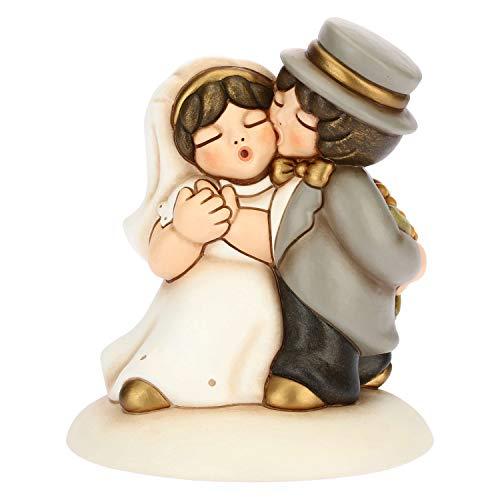 THUN - Topper Matrimoniale - Cake Topper con Coppia Sposini Classica - Cerimonia Matrimonio - Linea I Classici - Formato Medio - Ceramica - 11,9 x 11,9 x 14 h cm