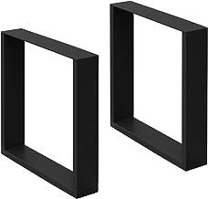 ECD Germany 2 stuks tafelpoten - 40 x 43 cm - gepoedercoat staal - zwart - industrieel ontwerp - tafelframe set tafelloper...