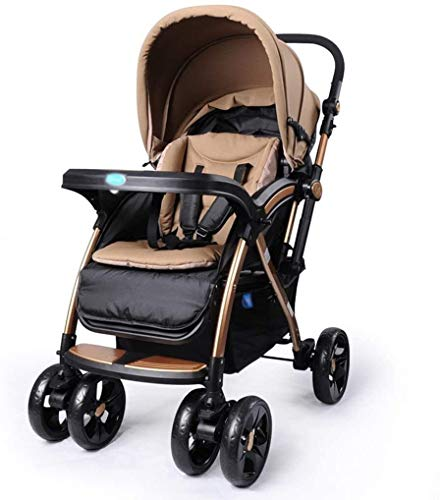LAMTON Baby Pushchair, Buggy, Pushchairs Two-Way Baby Stroller,Travel System Baby Stroller High Landscape Can Sit and Lie Down to Fold The Child Trolley Baby Carriage Adjustable Pushchair Stroller LAMTON The adjustable 5-point safety harness has comfortable shoulder pads, The sturdy frame has a wider seat which results in a more comfortable ride for your child The stroller can be easily folded, smaller and more portable; the adjustable backrest angle can be seated or lying down, as well as a large shopping basket and caster 1. The body is made of high-quality steel pipe, strong and durable, strong load-bearing, soft pedals, safe and environmentally friendly, will not scratch the baby, strong toughness and durability 1