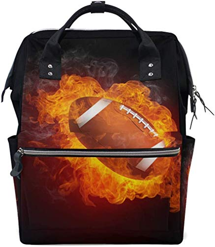 UUwant Sac à Dos à Couches pour Maman Large Capacity Diaper Backpack Travel Manager Baby Care Replacement Bag Nappy Bags Mummy Backpack Fire Football Pattern School Bag