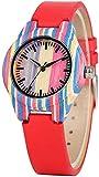 Rong Concise Reloj de Pulsera para Mujer, Esfera Colorida, Correa de Hebilla roja, superligero, de Madera de bambú para Mujer, Reloj de Cuarzo Casual para niña A+