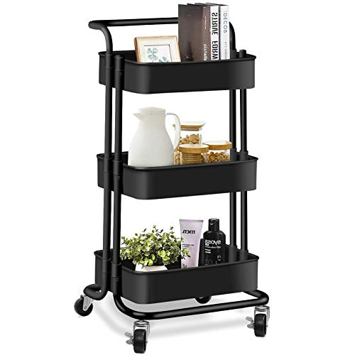AROVA 3 Tier Rolling Cart, Multifunction Storage Cart with Lock Wheels Plastic Basket, Easy Assembly Craft Art Utility Cart for Office Home Kitchen Bathroom Organization (Black)
