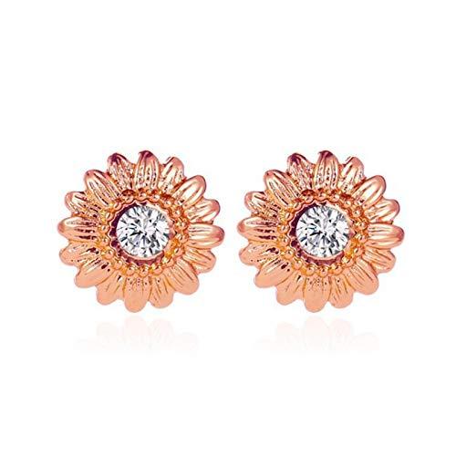 Phoetya Trendy Sunflower Diamond Earrings, Fashion Sunflower Stud Earrings and Meaningful Gift for Women Girls(Rose Gold)
