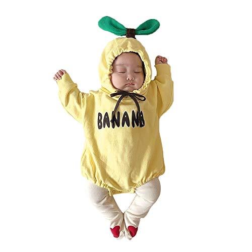 Baby Girl Boy - Pijama de manga larga para recién nacido, con capucha, de algodón, para niña, para recién nacido, disfraz de fotografía adorable (amarillo, 12 – 18 meses)