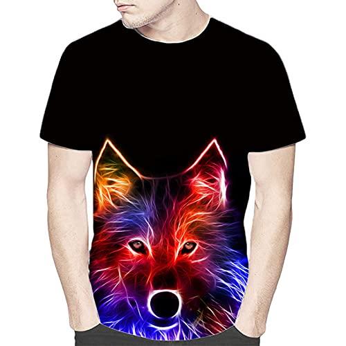 SSBZYES Camiseta para Hombre Camiseta De Verano De Manga Corta para Hombre Camiseta De Gran Tamaño para Hombre Camiseta con Estampado De Lobo para Hombre Camiseta Holgada De Manga Corta con Cuello