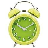 STARVAST 3Pouces Rétro Réveil Métal à Double Cloche, Reveil Mécanique Silencieux, Réveil Rétro Silencieux Horloge avec Lumière de Nuit pour Sommeil Bureau Chambre Voyage - Vert