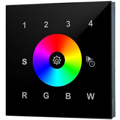 iluminize Touch Wand-Dimmer Funk: für RGB/RGB+W/RGBW LEDs, 4 Zonen, 230V Anschluss, Schalterdosen-Installation, KEIN Universal-Gerät: Funk Controller ist erforderlich (4 Zonen schwarze Glasoberfläche)