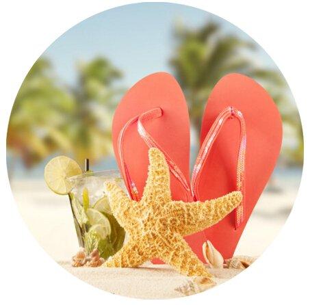 Sol Verano Playa Chanclas customized Round Mousepad de goma antideslizante Gaming alfombrilla de ratón