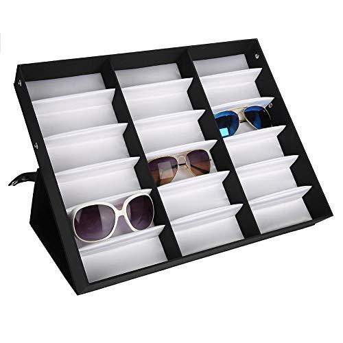 Dioche Brillen Aufbewahrung,18 Gitter Gläser Vitrine Sonnenbrillen Präsentation Brillendisplay Faltbarer mit Staubschutz 47,5 x 37,5 x 6 cm