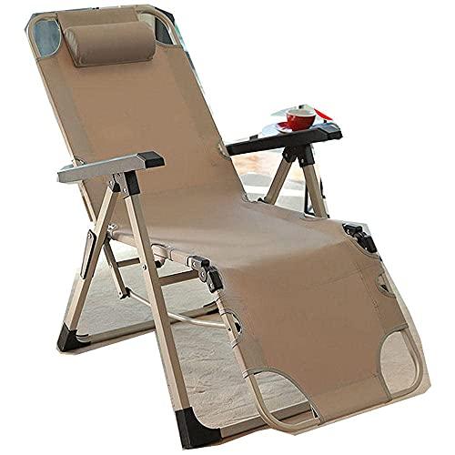 FVGBHN Sillón reclinable plegable plegable de gravedad cero, silla de oficina para siesta de oficina, cama plegable, silla de playa con almohada ajustable de 5 engranajes, reclinable, color caqui