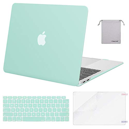 MOSISO MacBook Air 13 inch Case 2020 2019 2018 Release A2337 M1 A2179 A1932, Plastic Hard Shell&Keyboard Cover&Screen Protector&Storage Bag Compatible with MacBook Air 13 inch Retina, Mint Green