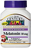 21st Century Melatonin Quick Dissolve Tablets, Cherry, 10 mg, 120 Count (Pack of 2)