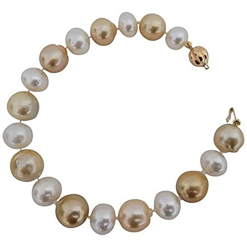 Pulsera de Mujer, Perlas Australianas Color Natural Blanco y Dorado tamaño 9-11 mm de diametro, broche oro amarillo 18K