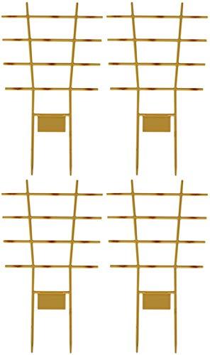 Novatool 4X Blumengitter Bambus I 44 x 24 cm I Kunststoff I Braun I Pflanzengitter Wand Rankgitter Rankhilfe Pflanzen Stütze Blumenstütze