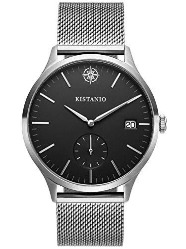 Kistanio herenhorloge Stratolis saffierglas staal zwart mesh met Milanese band KIS-STR-40-125