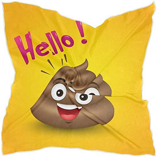 N/A Vierkante Sjaal Leuke Hello Poop Icon Emoji Zijde Als Lichtgewicht Sjaals Haarhals Wraps voor Vrouwen