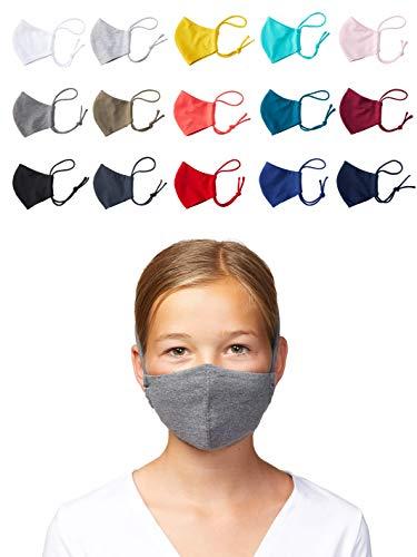Enter the Complex® Mund und Nasenmaske Waschbar bei 60 Grad, zum Binden, Weiche Behelfsmaske für Kinder und Jugendliche, 6 bis 13 Jahre, Baumwolle, Dunkel Grau Meliert