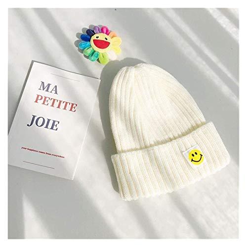 XXY Femenino Otoño E Invierno Sombrero De Punto Tapa Tapa De Lana Parche Ins Peligro Sonriente Cara Japonés Sin Porero Casual Hombres Coreanos Modelado (Color : White, Size : One Size)