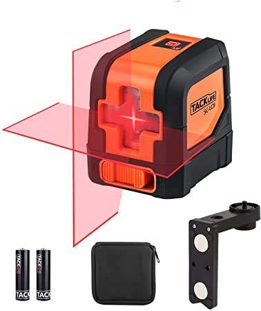 """Niveau Laser Autonivelant 15m, Tacklife SC-L01 Laser Croix Rotatif, Verrouillable, Laser Rouge Brillant, Support Magnétique, IP54 Anti-éclaboussure, Trou Fileté 1/4"""", Sac en toile, Piles inclus"""