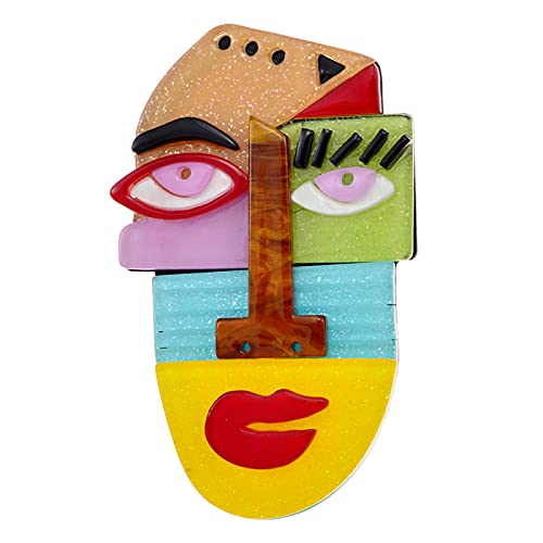 JIANCHEN Anime Pins Human Face Brooches Cute Abstract Cartoon Acrylic Acetate Brooch Coat Jewelry for Friends Gift