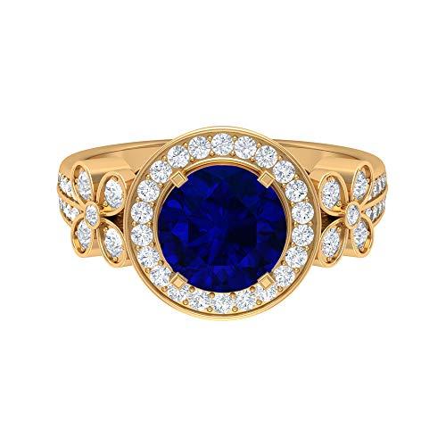 Anillo de oro solitario, piedras preciosas de 2,88 quilates, diamante HI-SI 8 mm, anillo difuso de zafiro, anillo de halo con piedras laterales, colección floral, 14K Oro amarillo, Size:EU 48