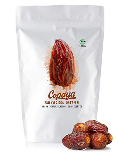 Copaya Bio Medjool Datteln, Saftige Jumbo Medjoul, unbehandelt, Frei von Zusätzen 1000g (1kg)