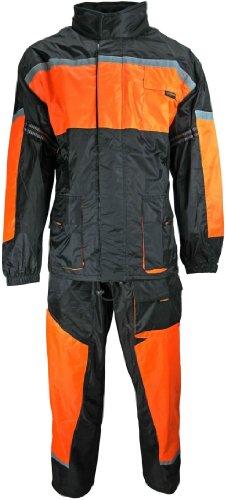 HEYBERRY Motorrad Regenkombi Regenhose Regenjacke schwarz neon orange Gr. 3XL