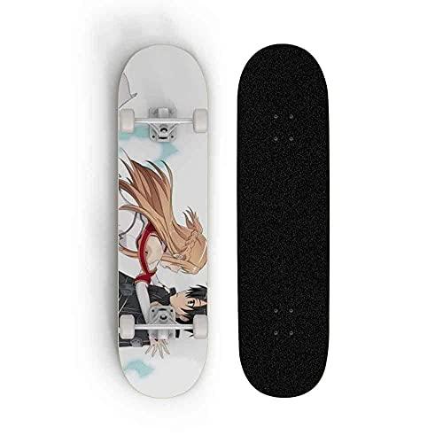 Monopatín de Cuatro Ruedas, Arte de la Espada de Anime en línea: Y □ Ki Asuna/Yuuki Asuna, Total Doble Pie Cruiser Deck Longboard Skateboard, Adecuado para niños Adolescentes Principiantes
