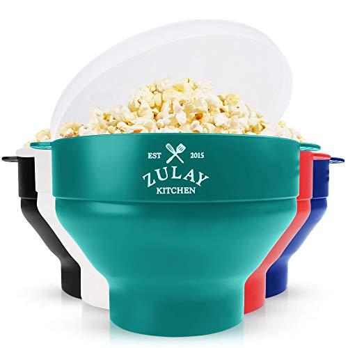 Zulay Kitchen Mikrowellen-Popcorn-Popper, zusammenklappbar, BPA-frei, Silikon, Popcorn-Popper, Mikrowellen-Faltschüssel, schnell & einfach Popcorn-Popper aus Silikon (Aqua)