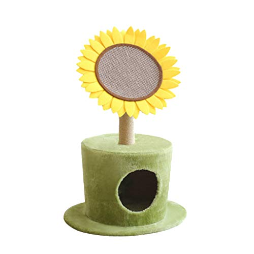 WWYM Cat Tree, Sunflower Bed with Scratching Post with Sisal Covered Climbing Activity Tower, Natural Jute Fiber 2-in-1 Scratching Post and Bed, Best Holiday Idea GIF