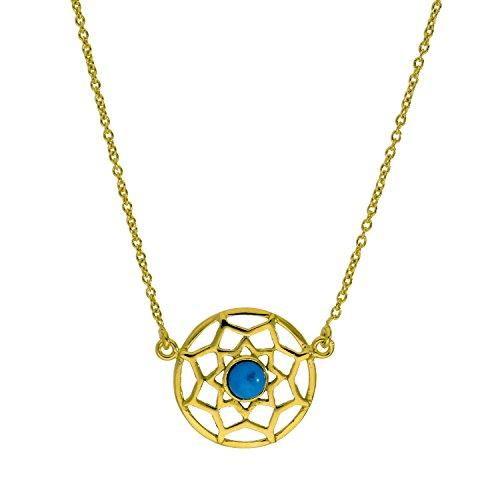 Collana con acchiappasogni d'argento Sterling laminato oro giallo e smalto blu - 45,7cm