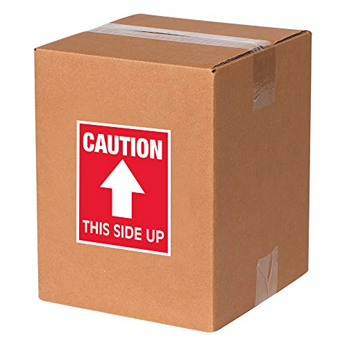 "Tape Logic SCL511R Shipping and Handling Label, Legend""Caution- This Side Up"" with Arrow Graphic, 4"" Length x 3"" Width, White on Red (Roll of 500)"