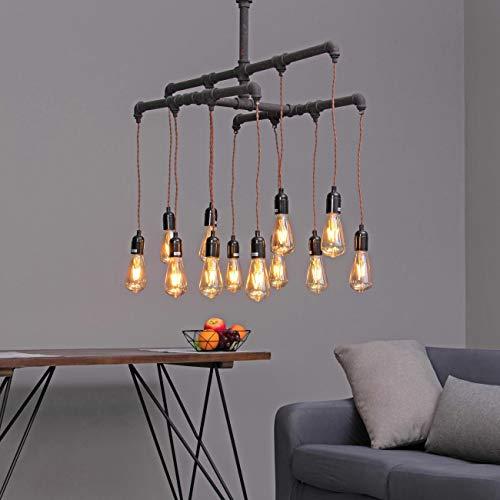 KOSILUM - Suspension industrielle à fils rouges 12 lumières - Vostok - Lumière Blanc Chaud Eclairage Salon Chambre Cuisine Couloir - 12 x 40W - - E27 - IP20