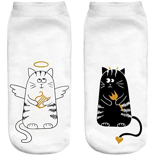Ferocity Lustige Socken Sneaker Halbsocken Strümpfe Sportsocken Füßlinge mit Motiv 3D Katze schwarz und weiß [001]