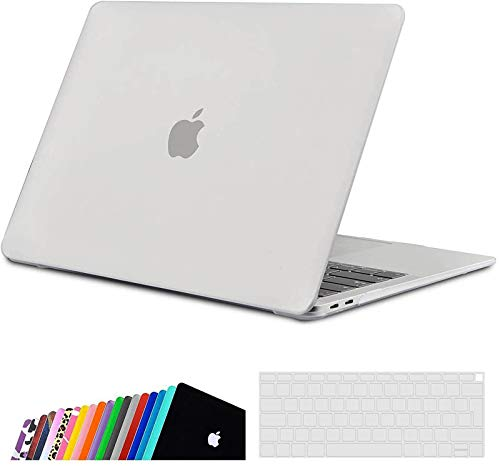 iNeseon MacBook Air 13-inch Case Cover A2337(M1)/ A2179/ A1932, Slim Hard Shell Protection Case + Keyboard Cover for 2020 2019 2018 MacBook Air 13 with Touch ID, Frosted Clear