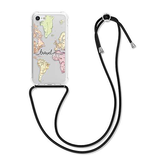 kwmobile Hülle kompatibel mit Apple iPhone 7/8 / SE (2020) - mit Kordel zum Umhängen - Silikon Handy Schutzhülle Travel Schriftzug Schwarz Mehrfarbig Transparent