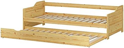 Erst-Holz ofabett Doppelbett Bettgestell 90x200 Einzelbett Bett + Bettkasten Kiefer massiv 60.34-09