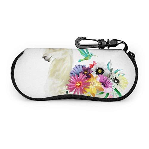 Estuche para gafas de alpaca Flower Girls Love Animal Boy Funda de gafas de neopreno con cremallera suave para gafas de sol