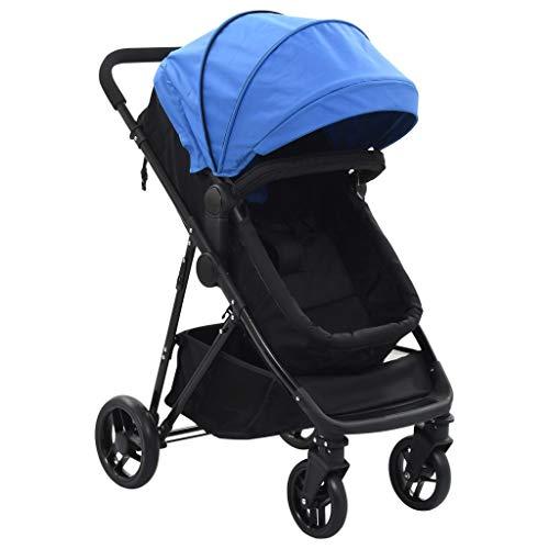 vidaXL Passeggino/Carrozzina 2-in-1 Leggero Regolabile Bloccabile Culletta Trasportino Bambini Neonati Blu e Nero in Acciaio e Tessuto Oxford