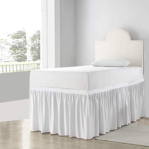 Shreem Linen Dorm Room Dust Ruffled Bed Skirt, 100% Microfiber Bed Skirt, Extra Long Dorm Room Bed Skirts College Dorm Bed Skirt 32 inch Drop (Twin-XL, White Solid)