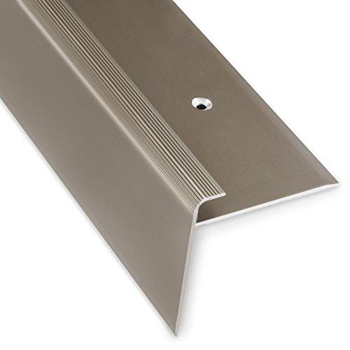 Treppenkantenprofil Safety | bronze dunkel | F-Form | 53mm Höhe mit einer Einfasshöhe von 7-8mm | Erhältlich in 4 Farben und 3 Längen (90cm)